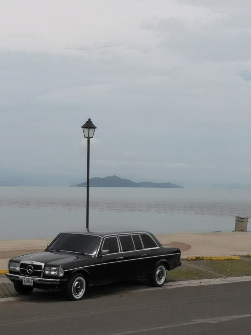 PUNTARENAS COSTA RICA BEACH. MERCEDES LIMOUSINE W123 LWB SEDAN