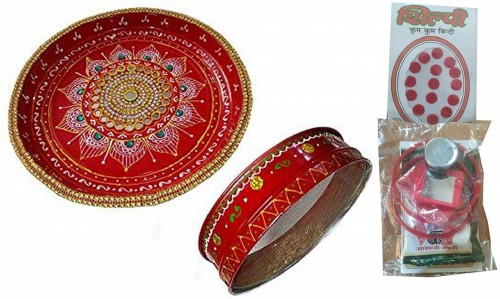 Karwachauth thali Set https://www.amazon.in/Salvus-App-SOLUTIONS-Thaalikarwachauth/dp/B01LD3N8B0 This karwachoth pooja thali is handmade item that is decorated with kundan, unique design and beautiful golden lace. On karwachoth occasion, women can buy this elegant and unique pooja thali set with chhanni. It is highly preferred as a gift due to its different decorative features and great quality. This Hand crafted traditional pooja thali will surely embellish all your spiritual seasons. Now the size of this thali is 26 cm diameter & width is 3 cm and Channi is 20 cm diameter and width is 6 cm. Jaali for Karwa Chauth, Pujan Plate karwachauth, thali Set + 1 Pack kumkum Bindi Set