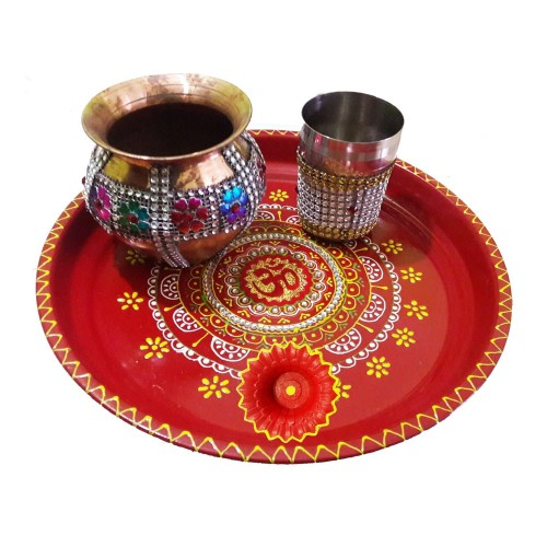 Handmade Steel Om Pooja Thali https://www.amazon.in/Salvus-App-SOLUTIONS-Karwachauth-Multicolour/dp/B01LLN2N72  It is time to celebrate karwa chauth in style. This is reason; craftera represents Karwa Chauth thali set for delightful celebration. This Decorated Colorful Om Pooja Thali Set is handmade items that are made of special stone lace and beautiful Stones studded. So, celebrate your karwachauth with our special KarwaChauth thali set. Now the size of this Decorated Pooja Thali-26 cm diameter & width is 3 cm, Decorated Copper Lota-10 cm diameter & length is 10 cm, Decorated Glass -6 cm diameter & length is 8 cm and Decorated Diya- 5 cm diameter & height is 3.5 cm. Pooja Thali Set, Colorful Om Pooja Thali, Decorated Pooja Thali