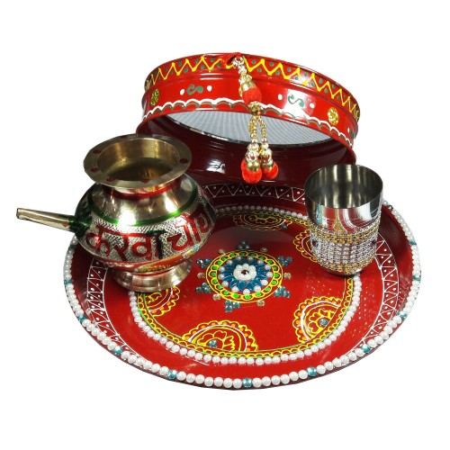 Colorful Pooja Thali Set https://www.amazon.in/Salvus-App-SOLUTIONS-Stainless-Beautiful/dp/B01M1374MY This Decorated Pooja Thali Set for Karwachauth is handmade item that is decorated with blue Kundan stone, mirror stone, designer print and beautiful golden latkan. On Karwachauth occasion, women can buy this elegant and unique pooja thali set with channi, decorated karwa lota & decorated glass. It is highly preferred as a gift due to its different decorative features and great quality. This Hand crafted traditional pooja thali will surely embellish all your spiritual seasons. Now the size of this Decorated Pooja Thali-26 cm diameter & width is 3 cm, Decorated Latkan Channi-18 cm diameter & width is 4.5 cm, Lota-8 cm diameter & length is 8 cm and Decorated Glass -6 cm diameter & length is 8 cm. crafted traditional pooja thali, Colorful Pooja Thali Set, Gift for Wife, traditional pooja thali